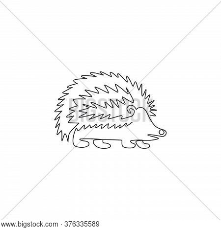 Single Continuous Line Drawing Of Cute Little Baby Hedgehog For Logo Identity. Funny Tiny Thorny Mam