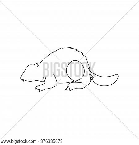 Single Continuous Line Drawing Of Adorable River Beaver For Logo Identity. Cute Animal Rodent Mammal