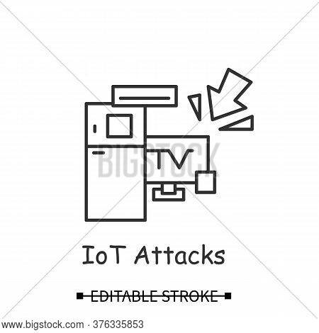 Smart Devices Hacking Icon. Smart Technology Home Devices Hacker Attack Linear Pictogram. Concept Of