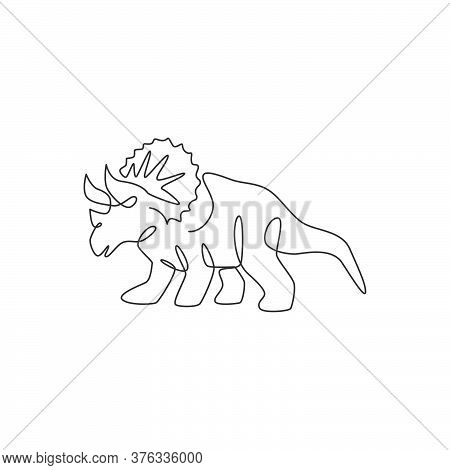 Single Continuous Line Drawing Of Tough Triceratops For Logo Identity. Prehistoric Animal Mascot Con