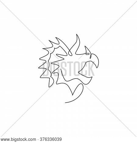 One Continuous Line Drawing Of Cute Head Triceratops Prehistory Animal For Logo Identity. Dinosaurs