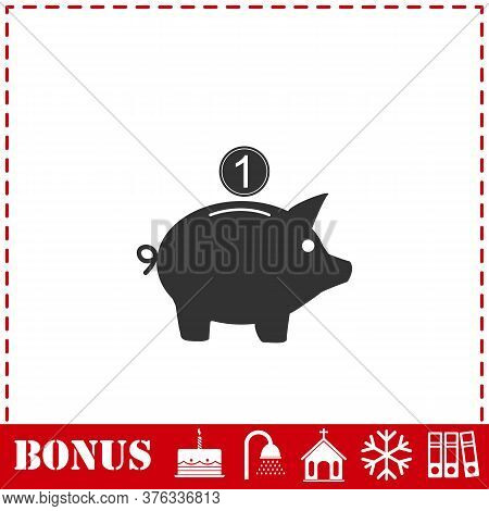 Moneybox Icon Flat. Simple Vector Symbol And Bonus Icon