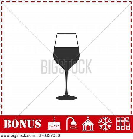 Wineglass Icon Flat. Simple Vector Symbol And Bonus Icon