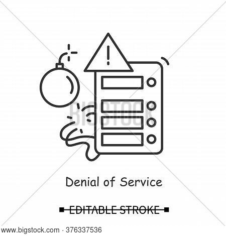 Ddos Attack Icon. Denial Of Service Web Site Hacker Attack Linear Pictogram. Concept Of Request Floo