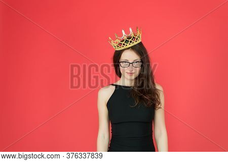 Superiority And Excellence. Woman Queen Red Background. Sexy Girl Wear Crown. Big Boss Concept. Ambi