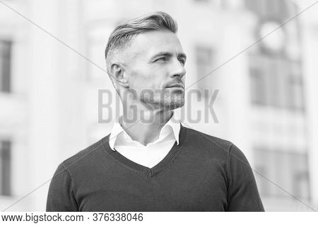 Intellectual Work. Man Stylish Hairstyle. Male Face. Businessman Concept. Attractive Mature Man. Mat