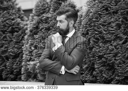 Business Life. Man Businessman Classic Style Urban Park Background. Businessman Well Groomed Hairsty