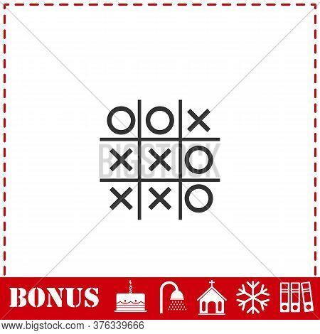 Tic Tac Toe Game Icon Flat. Simple Vector Symbol And Bonus Icon