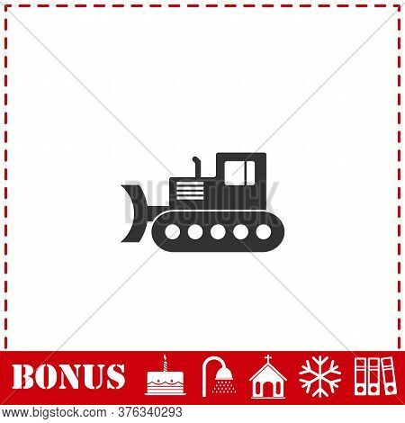 Bulldozer Icon Flat. Simple Vector Symbol And Bonus Icon