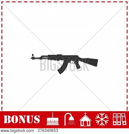 Assault Rifle Icon Flat. Simple Vector Symbol And Bonus Icon