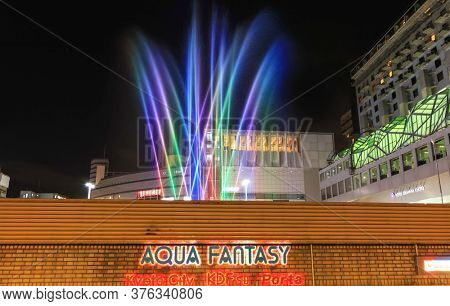 Kyoto, Japan - August 8, 2019: Aqua musical fountain in front of Kyoto train station in Kyoto,Japan