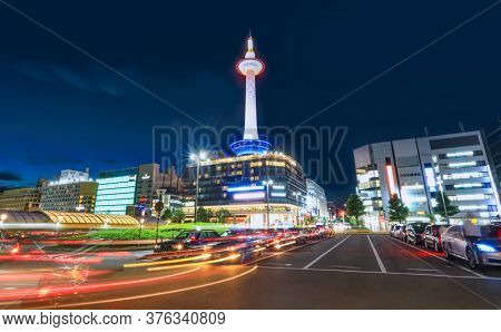 Kyoto, Japan - August 7, 2019. Kyoto tower and hotel complex is the tallest building in Kyoto city, Japan