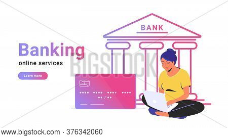 Online Banking For Checking Account, Investing And Funding. Flat Line Vector Illustration Of Woman S
