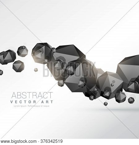 Abstract Floating Black Polyhedron Shapes 3d Objects
