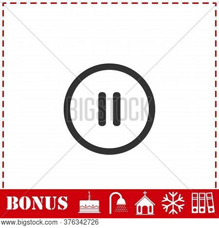 Pause Button Icon Flat. Simple Vector Symbol And Bonus Icon
