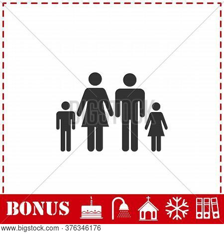Family Icon Flat. Simple Vector Symbol And Bonus Icon