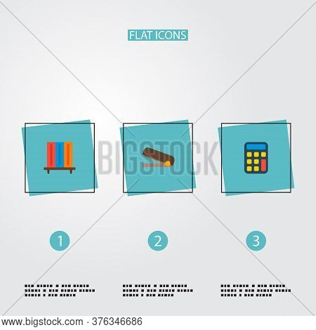 Set Of Bureau Icons Flat Style Symbols With Calculator, Stapler, Bookshelf And Other Icons For Your