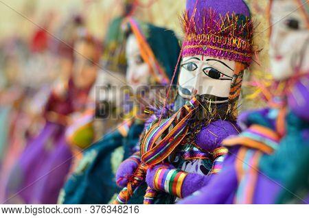 Rajasthani Puppets (kathputli) On Display At Shop In Mehrangarh Fort In Jodhpur. Kathputli Is A Stri