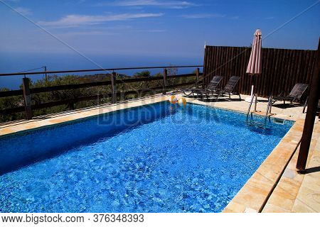 Swimming Pool Of Luxury Holiday Villa, Amazing Nature View Landscape Sea. Relax Near Swimming Pool W