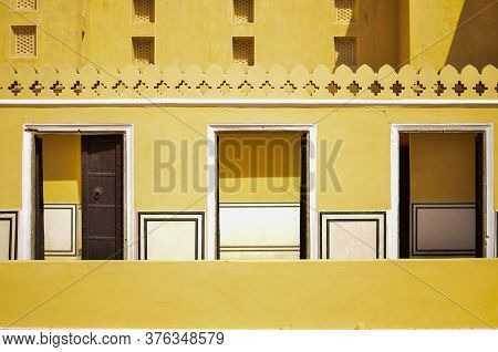 Yellow Balcony With Three Open Doors Inside Hawa Mahal In Jaipur, Rajasthan, India. It Is A Palace W