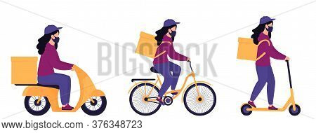 A Set Of Courier Girls In Protective Masks Deliver Parcels On A Motorcycle, Bicycle And Electric Sco