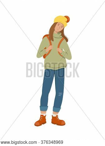 A Tired Student Stands Holding A Backpack Behind Her Back. Isolated On White Background. Flat Style