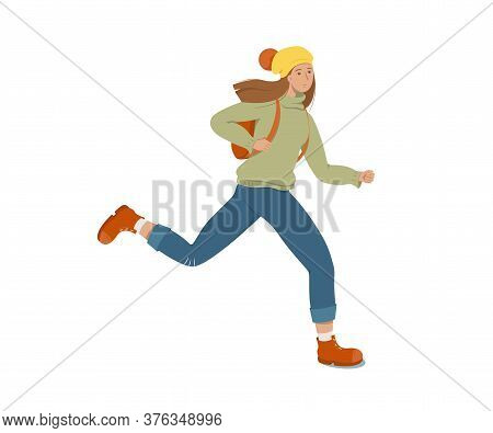 A Young Female Student Runs Holding A Backpack On Her Back. White Background. Flat Style Vector Illu