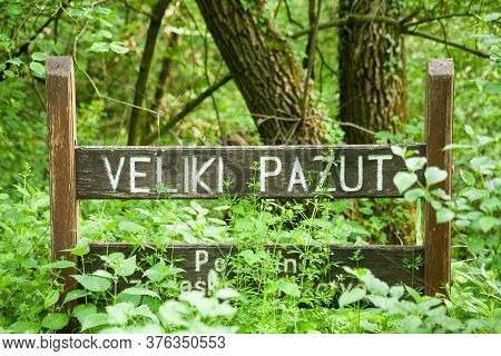 Closeup Shot Of A Wooden Signpost About The Veliki Pazut Nature Preserve In Croatia