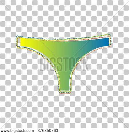 Womens Panties Sign. Blue To Green Gradient Icon With Four Roughen Contours On Stylish Transparent B