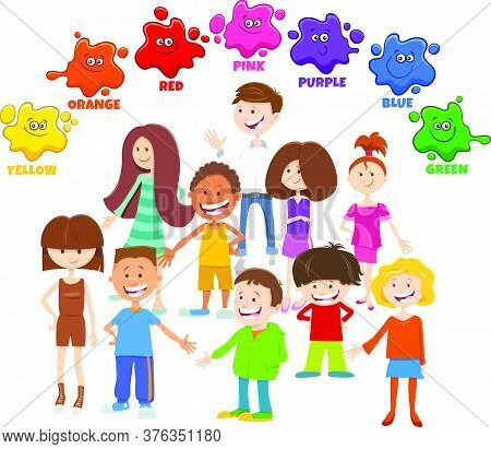 Educational Cartoon Illustration Of Basic Colors With Children And Teen Characters Group