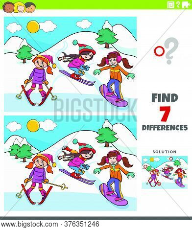 Cartoon Illustration Of Finding Differences Between Pictures Educational Game For Kids With Three Gi