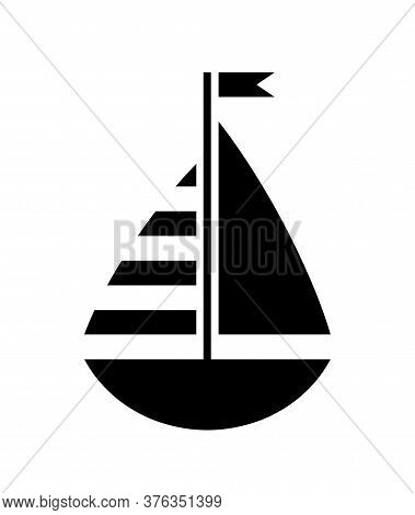 Vector Black Sailboat Isolated On White Background