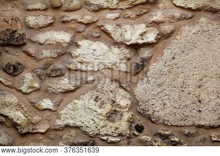 Old Grunge Stone Wall Texture, Material, Pattern And Background, Close Up. Natural Contrast Masonry