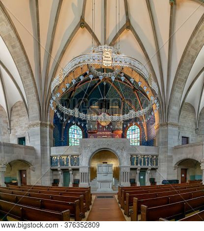 Interior View Of The Historic Pauluskirche Church In Downtown Basel