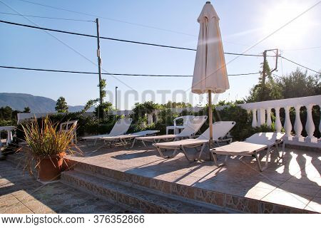 Swimming Pool Of Luxury Holiday Villa, Amazing Nature. Relax Near Swimming Pool With Handrail, Deck