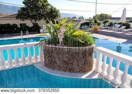 Corfu City, Greece - July 29, 2017: Swimming Pool Of Luxury Holiday Villa. Relax Near Exotic Swimmin