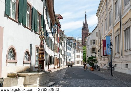 View Of The Historic Old City Center In Downtown Basel With The Cathedral In The Background