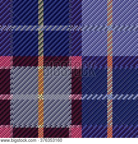 Tartan Scottish Seamless Pattern In Muted Blue, Violet, Pink And Grey Colors, Texture For Flannel Sh