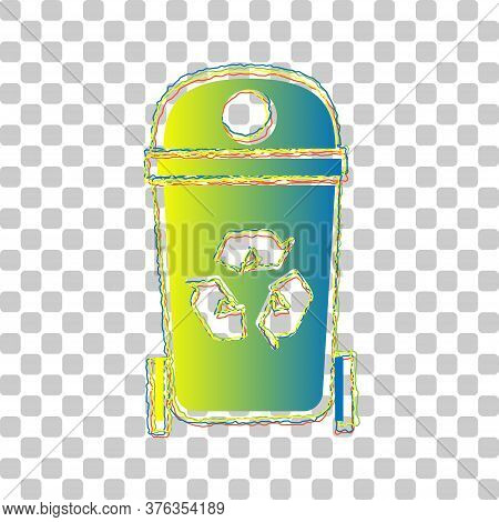 Trashcan Sign Illustration. Blue To Green Gradient Icon With Four Roughen Contours On Stylish Transp