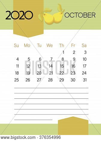 October 2020. Calendar Template. Pears Fruits. Page. Planner Diary In A Minimalist Style.