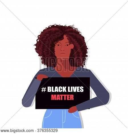 Hashtag Black Lives Matters. Young African American Woman Avatar  Against Racism. Black Citizens Are