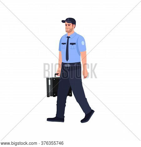 Policeman With Briefcase Semi Flat Rgb Color Vector Illustration
