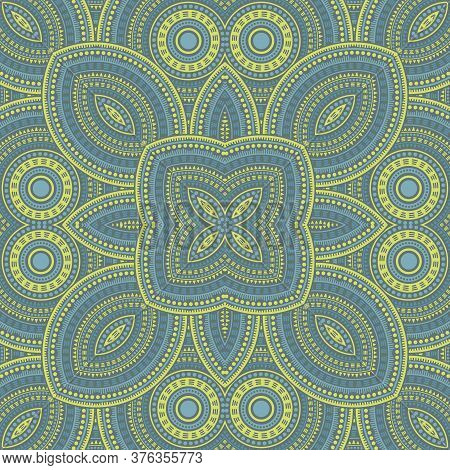 Abstract Victorian Majolica Tile Seamless Pattern. Geometric Texture Vector Patchwork. Velum Print D