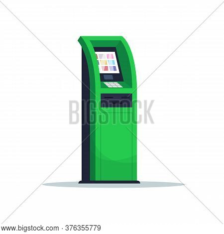 Atm For Payment Semi Flat Rgb Color Vector Illustration