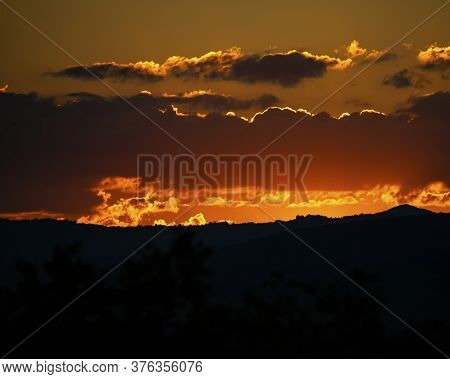 Beautiful Summer Sunset Seen From Mountain View Overlook In Wilkes County, Nc Looking Toward Boone,