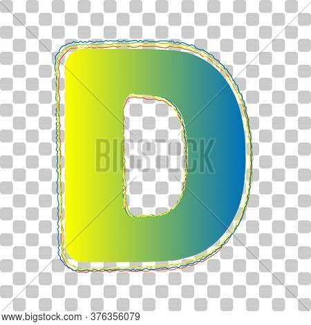 Letter D Sign Design Template Element. Blue To Green Gradient Icon With Four Roughen Contours On Sty