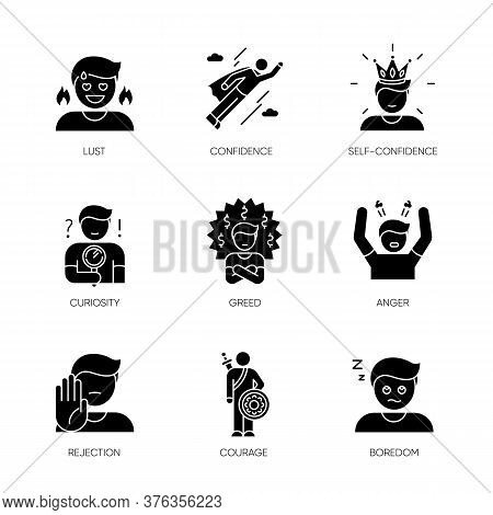 Human Emotions Black Glyph Icons Set On White Space