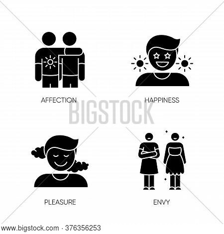 Positive And Negative Emotions Black Glyph Icons Set On White Space