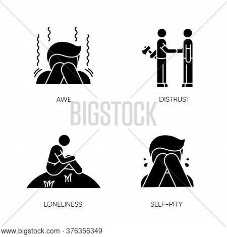 Negative Emotions And Bad Feelings Black Glyph Icons Set On White Space