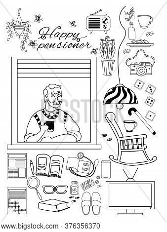 Elderly Man. Happy Elderly Man At In The Apartment Window And Things For A Cozy Pensioner Life. Home